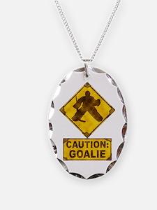 Hockey Goalie Caution Sign Necklace