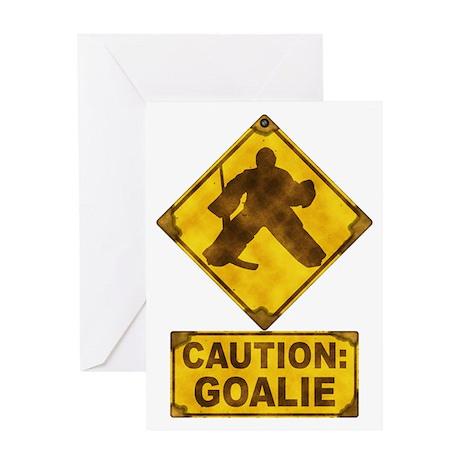 Hockey Goalie Caution Sign Greeting Card