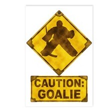 Hockey Goalie Caution Sign Postcards (Package of 8