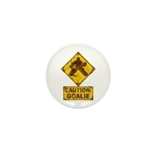 Hockey Goalie Caution Sign Mini Button (10 pack)