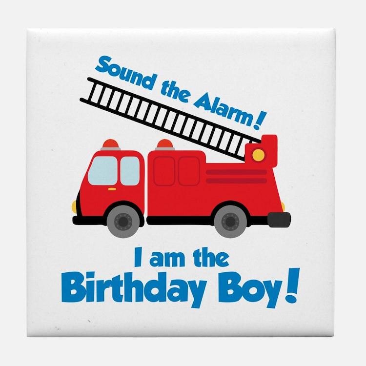 Firetruck Birthday Boy Tile Coaster