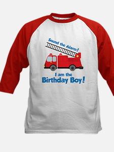 Firetruck Birthday Boy Kids Baseball Jersey