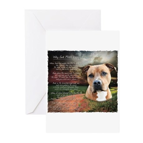 """Why God Made Dogs"" AmStaff Greeting Cards (Pk of"