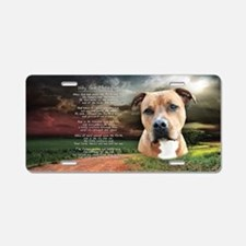 """""""Why God Made Dogs"""" AmStaff Aluminum License Plate"""