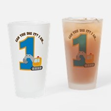 Construction Digger 1st Birth Drinking Glass
