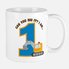 Construction Digger 1st Birth Mug
