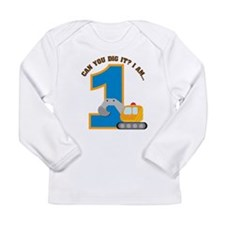 Construction Digger 1st Birth Long Sleeve Infant T