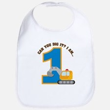 Construction Digger 1st Birth Bib
