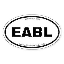 Eastern Bluebird Euro-style oval sticker