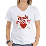 Rhonda Lassoed My Heart Women's V-Neck T-Shirt