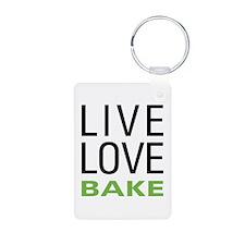 Live Love Bake Aluminum Photo Keychain