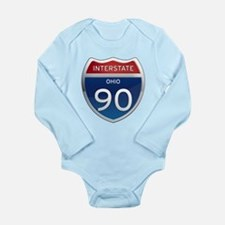 Interstate 90 - Ohio Long Sleeve Infant Bodysuit