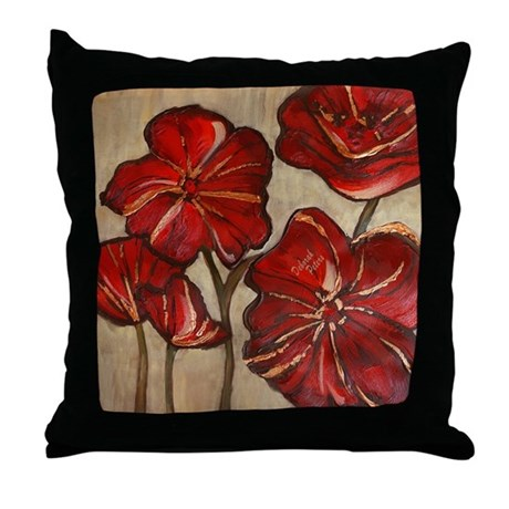Red Poppy Art Throw Pillow by DeborahPeters