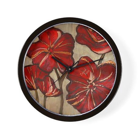 Red Poppy Art Wall Clock