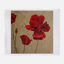 Red Poppy Art II Throw Blanket