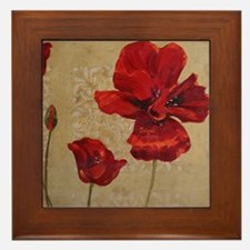 Red Poppy Art II Framed Tile