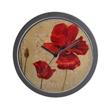 Red Poppy Art II Wall Clock