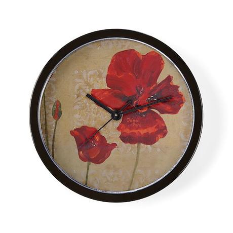 Red Poppy Art II Wall Clock