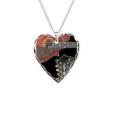 Cute Mandolin Necklace Heart Charm