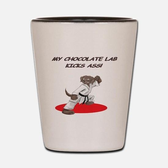 Chocolate Lab Karate Fighter Shot Glass