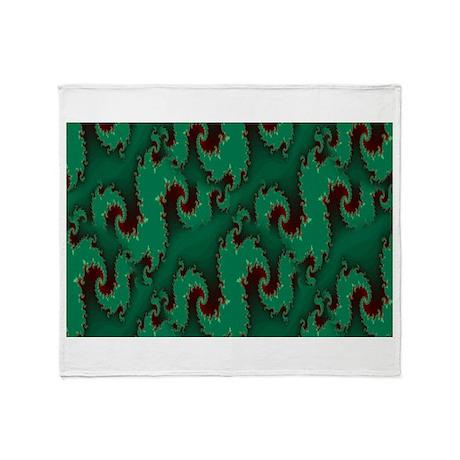 Green Waves (Fractal Art) Throw Blanket