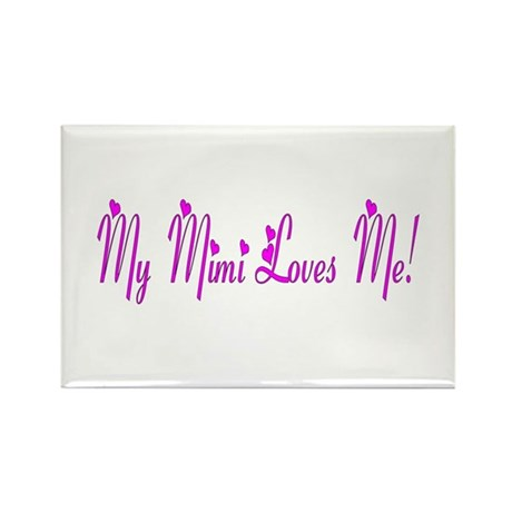My Mimi Loves Me! (Purple Hearts) Rectangle Magnet