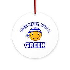 Cute Greek designs Ornament (Round)