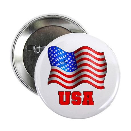 USA Flag Red White & Blue Button