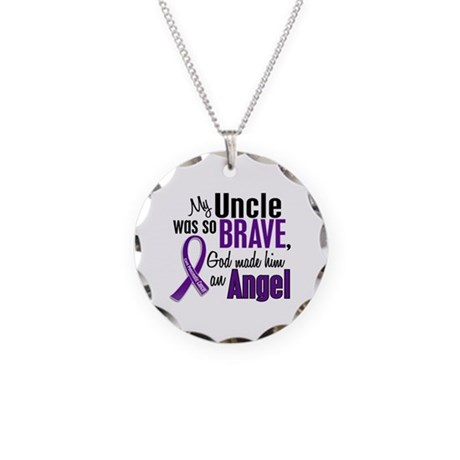 Angel 1 Pancreatic Cancer Necklace Circle Charm