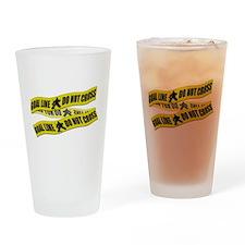 Hockey Crime Tape Drinking Glass