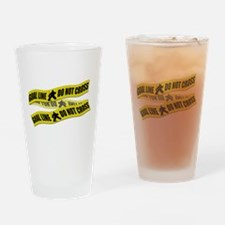 Hockey Crime Tape Drinking Glass