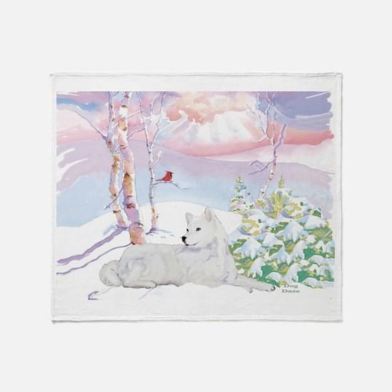 Samoyed Winter Scene Throw Blanket