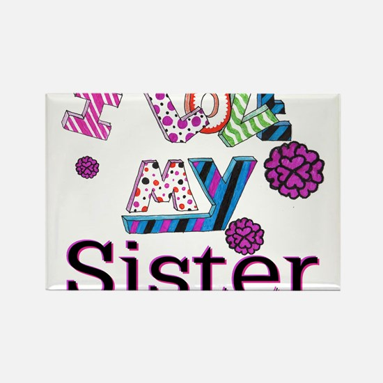 Cute I love my sister Rectangle Magnet