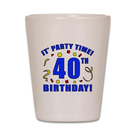 40th Birthday Party Time Shot Glass