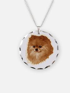 Pomeranian head dog art Necklace
