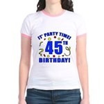 45th Birthday Party Time Jr. Ringer T-Shirt