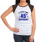 45th Birthday Party Time Women's Cap Sleeve T-Shir
