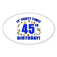 45th Birthday Party Time Decal
