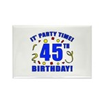 45th Birthday Party Time Rectangle Magnet (10 pack