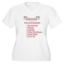 Steampunk Ladies' Checklist Wmn Plus Sz V-Neck T