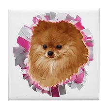 Pomeranian head dog art Tile Coaster