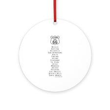US Route 66 California Cities Ornament (Round)