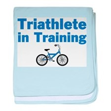 Triathlete in Training - Blue Bike baby blanket