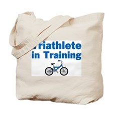 Triathlete in Training - Blue Bike Tote Bag