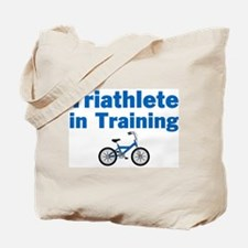 Triathlete in Training - Blue Bike Tote Bag