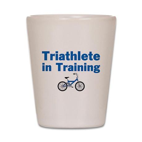 Triathlete in Training - Blue Bike Shot Glass