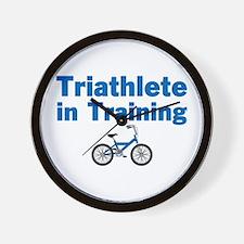 Triathlete in Training - Blue Bike Wall Clock