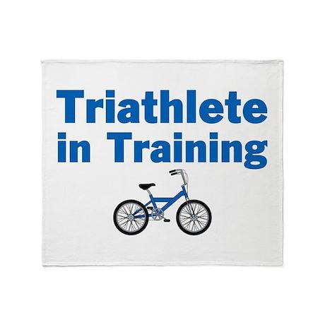 Triathlete in Training - Blue Bike Throw Blanket