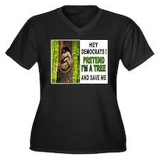SAVE A BABY Women's Plus Size V-Neck Dark T-Shirt