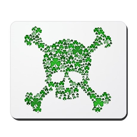 Irish Shamrock Crossbones Mousepad